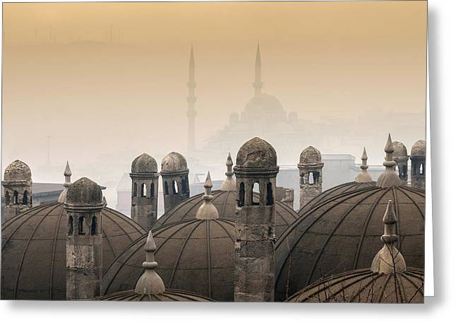 Marmara Greeting Cards - The Suleymaniye Mosque and New Mosque in the backround Greeting Card by Ayhan Altun