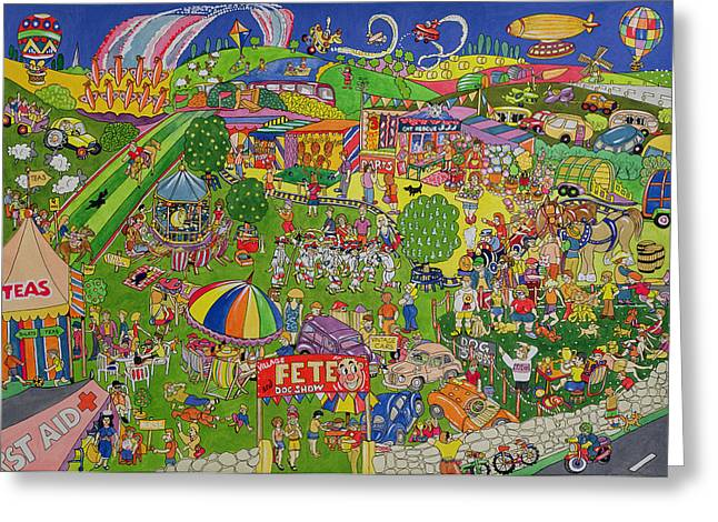 Village Life Greeting Cards - The Summer Fete, 1999 Wc On Paper Greeting Card by Tony Todd