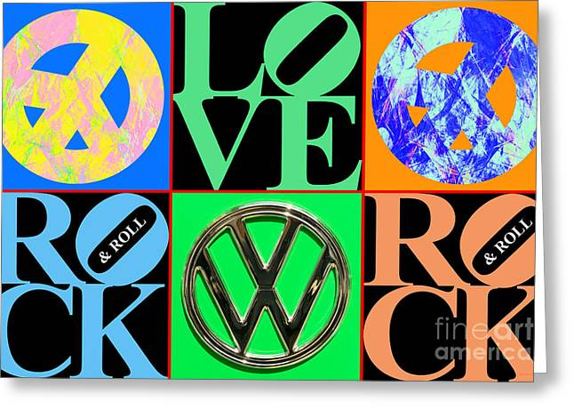 Hippie Volkswagon Greeting Cards - The Summer of Love 20140605 Horizontal BL Greeting Card by Wingsdomain Art and Photography