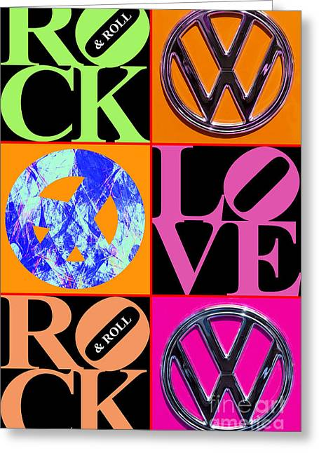 Hippie Volkswagon Greeting Cards - The Summer of Love 20140605 Vertical BR Greeting Card by Wingsdomain Art and Photography