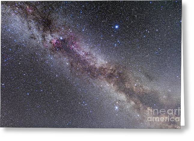 Deneb Greeting Cards - The Summer Triangle Stars In The Milky Greeting Card by Alan Dyer