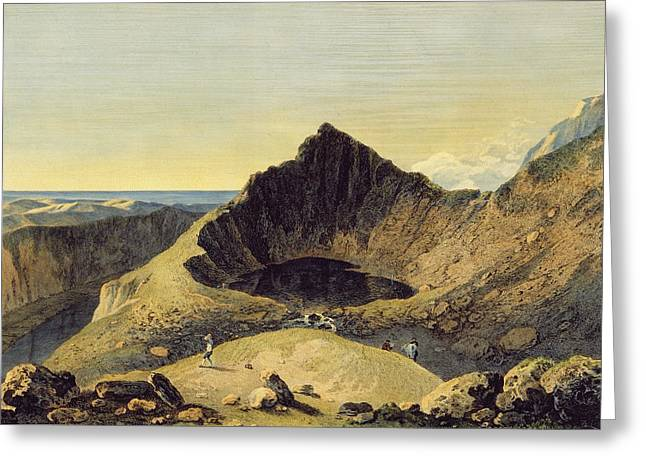 Craters Greeting Cards - The Summit Of Cader Idris Mountain, 1775 Engraving With Wc On Paper Greeting Card by Richard Wilson