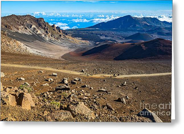 Above The Clouds Greeting Cards - The summit of Haleakala Volcano in Maui. Greeting Card by Jamie Pham