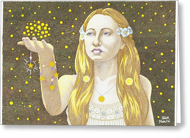 Stipple Drawings Greeting Cards - The Summoning Greeting Card by Jack Puglisi