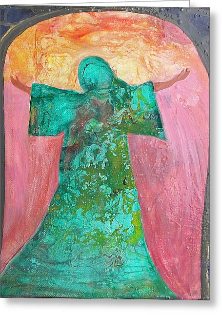 Outstretched Arm Paintings Greeting Cards - The Summoning Greeting Card by Maura Satchell