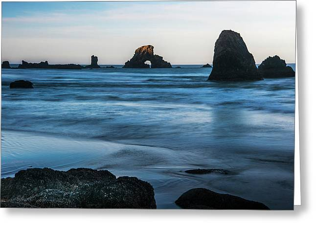 The Sun Comes Up On Sea Stacks  Cannon Greeting Card by Robert L. Potts