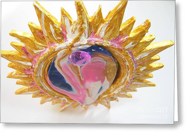 Spiritual Art Reliefs Greeting Cards - The sun goddess Greeting Card by Heidi Sieber