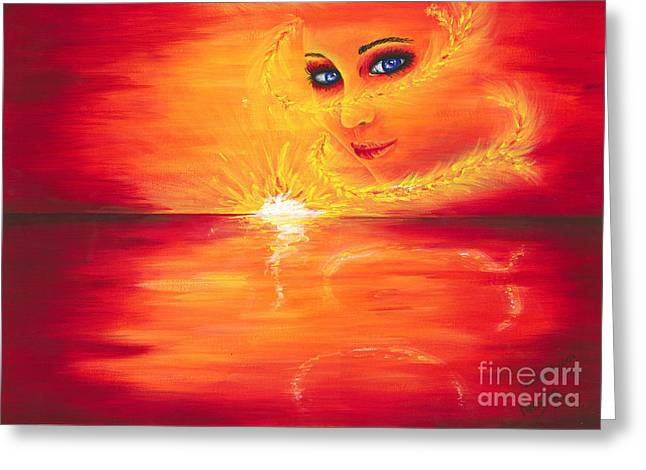 The Sun God Greeting Cards - The Sun Goddess Greeting Card by Nevae Art