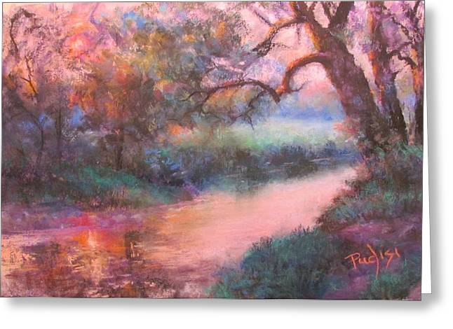 Creek Pastels Greeting Cards - The Sun Going Down on Cocalico Creek Greeting Card by Bill Puglisi