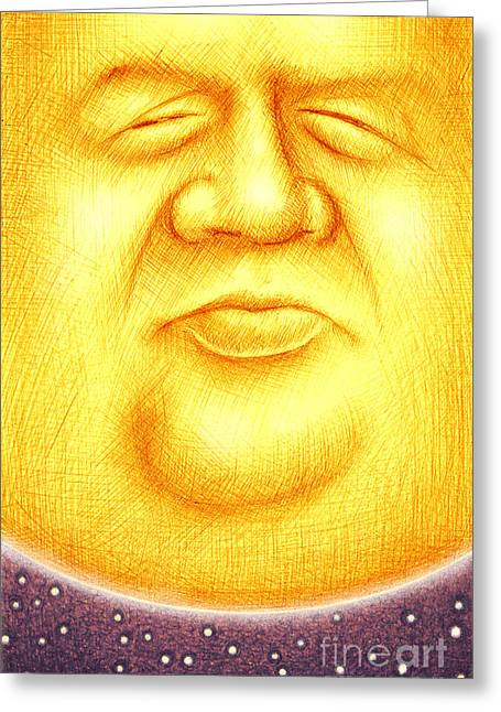 Crosshatching Greeting Cards - The Sun King Greeting Card by Cristophers Dream Artistry