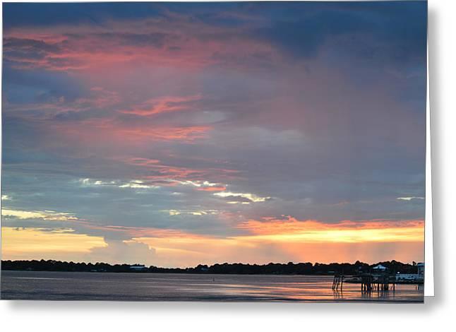 Cedar Key Greeting Cards - The Sun Sets at Cedar Key Florida Greeting Card by rd  Erickson