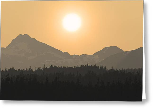 Southeast Alaska Greeting Cards - The Sun Sets Over The Chilkat Greeting Card by John Hyde