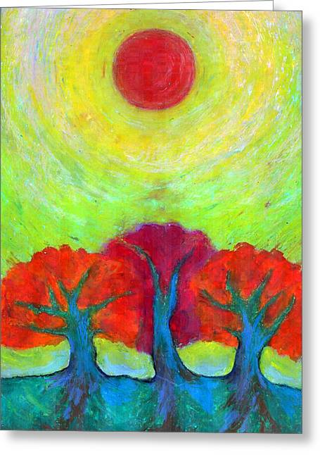 Colours Pastels Greeting Cards - The Sun Three Greeting Card by Wojtek Kowalski