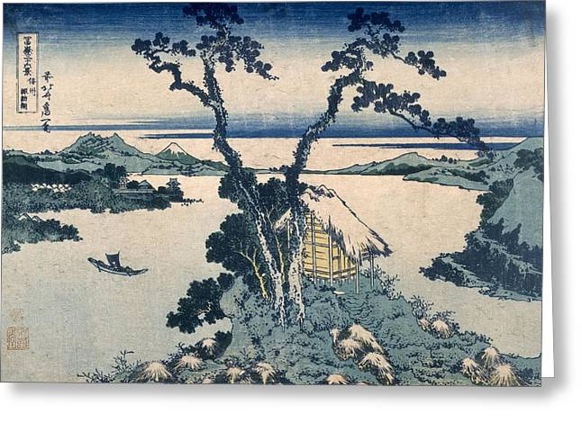 Wood Blocks Greeting Cards - The Suna Lake Greeting Card by Katsushika Hokusai