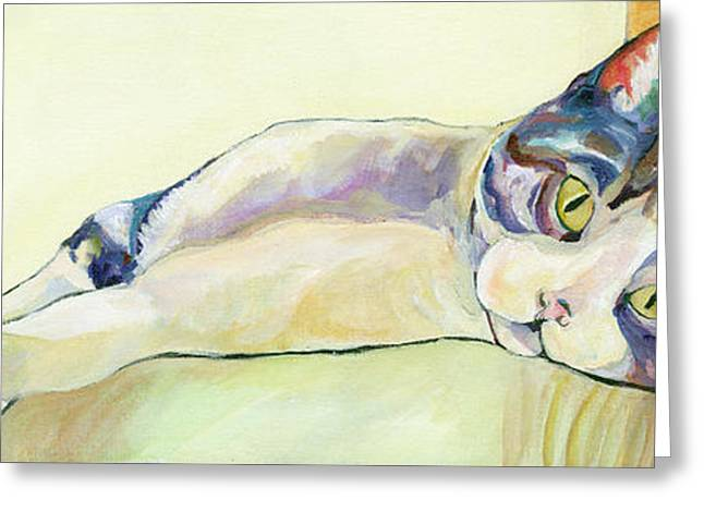 Canvas On Board Greeting Cards - The Sunbather Greeting Card by Pat Saunders-White