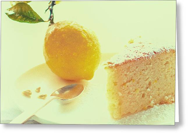 Icing Sugar Greeting Cards - The Sunday Lemon Cake Greeting Card by Constance Fein Harding