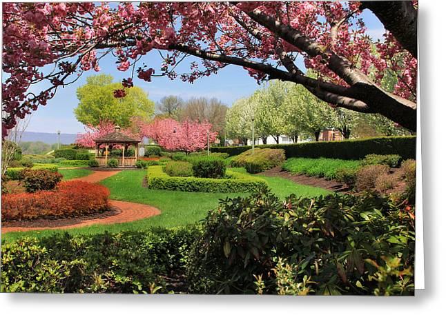 """riverfront Park"" Greeting Cards - The Sunken Garden Greeting Card by Lori Deiter"