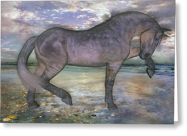 Topsail Island Greeting Cards - The Sunrise Horse Greeting Card by Betsy C  Knapp