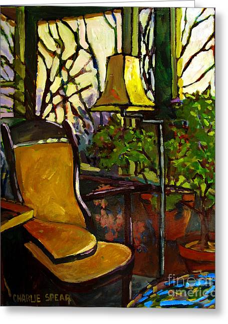 Indoor Still Life Paintings Greeting Cards - The SUNROOM Greeting Card by Charlie Spear