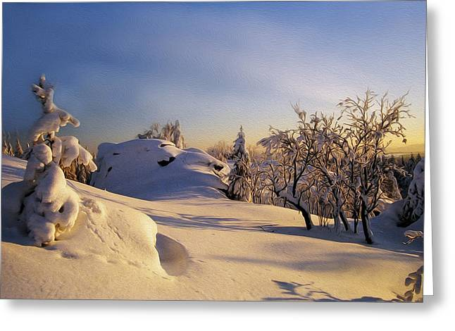 Snowy Digital Art Greeting Cards - The sunset Greeting Card by Aged Pixel