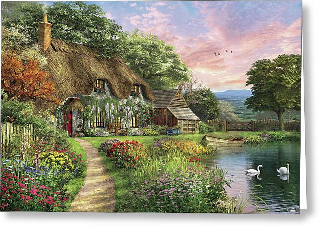 The Sunset Cottage Greeting Card by Dominic Davison