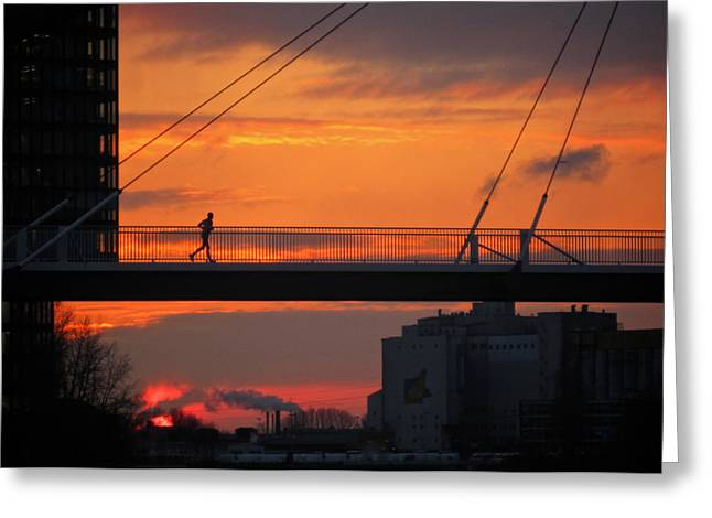 Jogging Greeting Cards - The Sunset Jogger Greeting Card by Richard Cummings