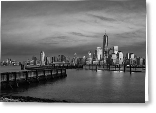 The Sunsets At One World Trade Center Bw Greeting Card by Susan Candelario