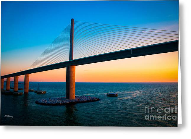 Rene Triay Photography Greeting Cards - The Sunshine Under the Sunshine Skyway Bridge Greeting Card by Rene Triay Photography
