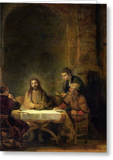 Emmaus Greeting Cards - The Supper At Emmaus, 1648 Oil On Panel Greeting Card by Rembrandt Harmensz. van Rijn