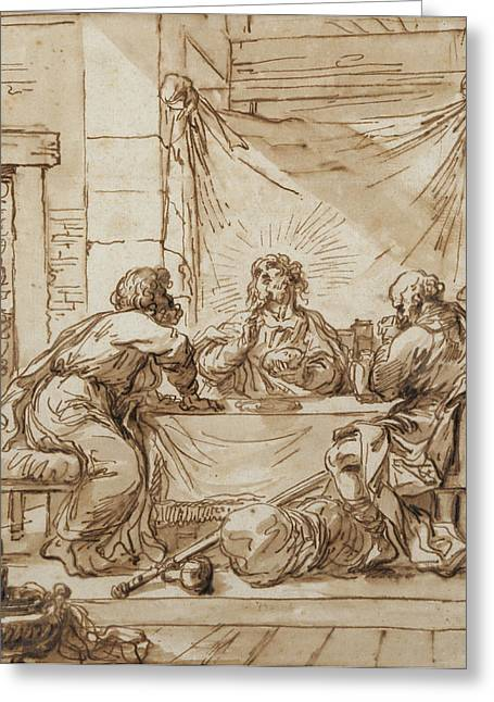 Jesus Greeting Cards - The Supper At Emmaus Ink On Paper Greeting Card by Guercino