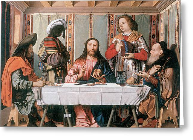 Emmaus Greeting Cards - The Supper at Emmaus Greeting Card by Marco Marziale