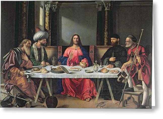 The Followers Greeting Cards - The Supper at Emmaus Greeting Card by Vittore Carpaccio