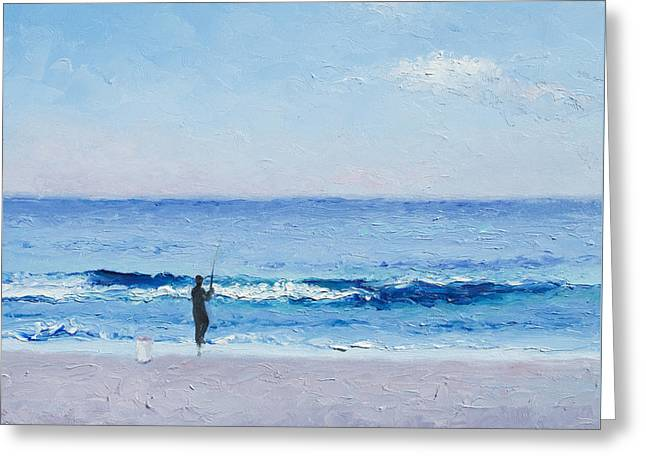 Surf Fishing Greeting Cards - The Surf Fisherman Greeting Card by Jan Matson