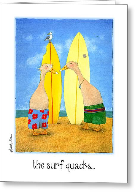 Runner Greeting Cards - The Surf Quacks... Greeting Card by Will Bullas