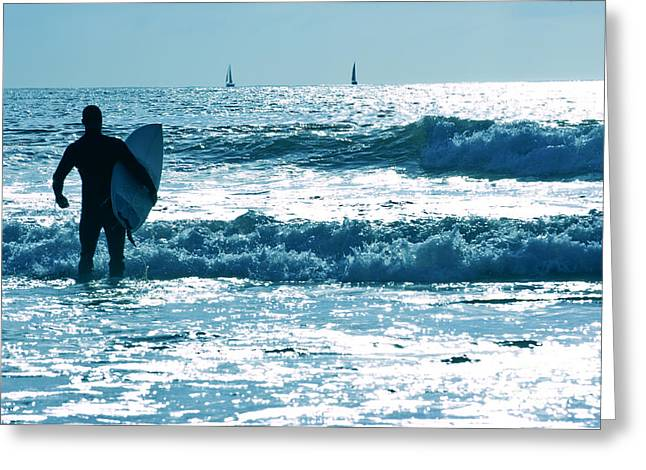 Ocean Shore Greeting Cards - The Surfer 2 Greeting Card by Micah May