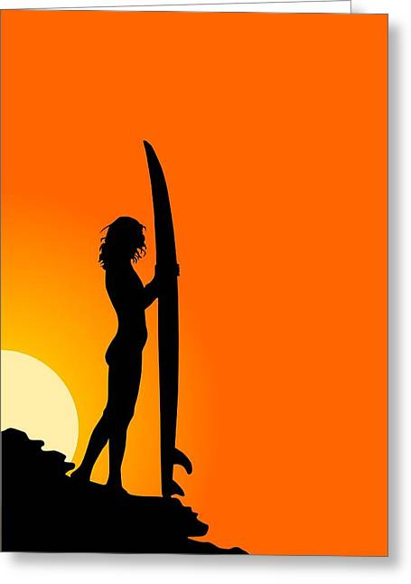 Surf Silhouette Greeting Cards - The Surfer Greeting Card by Mountain Dreams