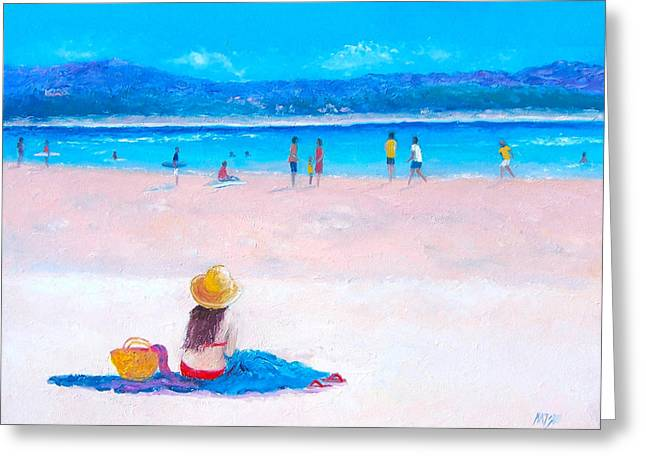 Ocean Art. Beach Decor Greeting Cards - The Surfers at Byron Bay Greeting Card by Jan Matson