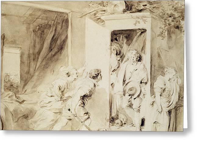 Cupboard Greeting Cards - The Surprised Lover Greeting Card by Jean-Honore Fragonard
