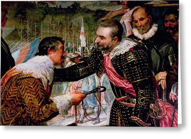 Embrace Greeting Cards - The Surrender Of Breda 1625, Detail Of Justin De Nassau Handing The Keys Over To Ambroise Spinola Greeting Card by Diego Rodriguez de Silva y Velazquez