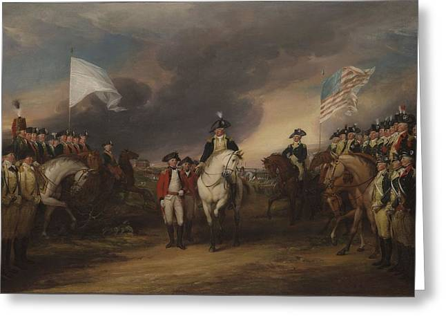 Army Soldier Greeting Cards - The Surrender Of Lord Cornwallis At Yorktown, October 19, 1781, 1787-c.1828 Oil On Canvas Greeting Card by John Trumbull
