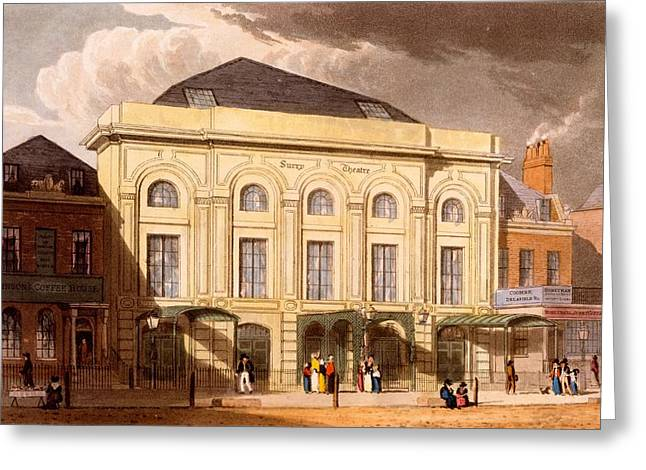 Surrey Greeting Cards - The Surrey Theatre, London, 1826 Greeting Card by Daniel Havell