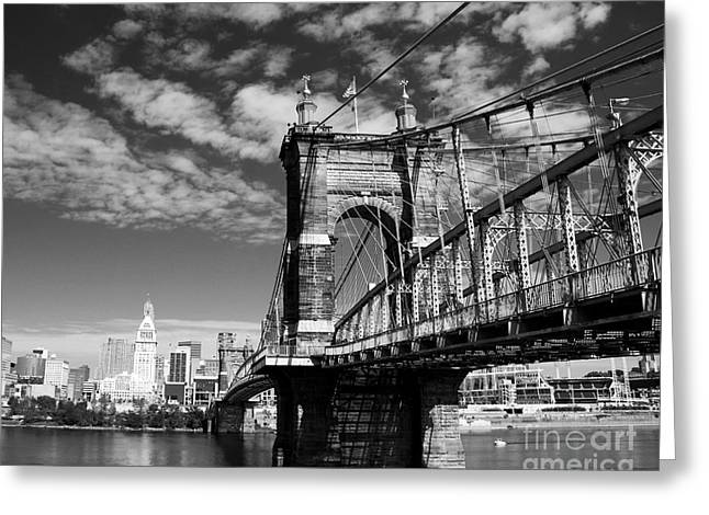 Landmark And Bridges Greeting Cards - The Suspension Bridge bw Greeting Card by Mel Steinhauer