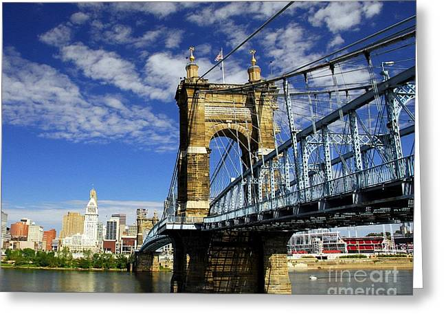 Landmark And Bridges Greeting Cards - The Suspension Bridge Greeting Card by Mel Steinhauer