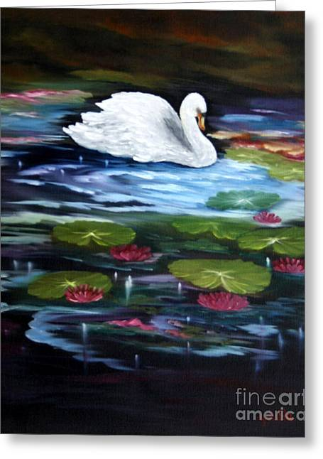 Seacape Greeting Cards - The Swan Lake Greeting Card by  ILONA ANITA TIGGES - GOETZE  ART and Photography