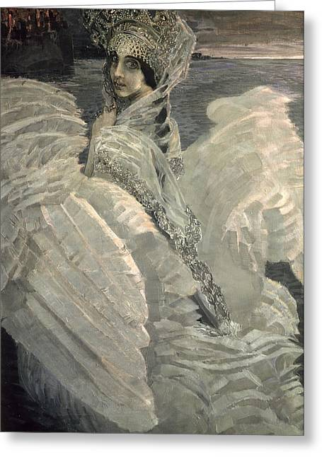 Swans... Greeting Cards - The Swan Princess, 1900 Greeting Card by Mikhail Aleksandrovich Vrubel
