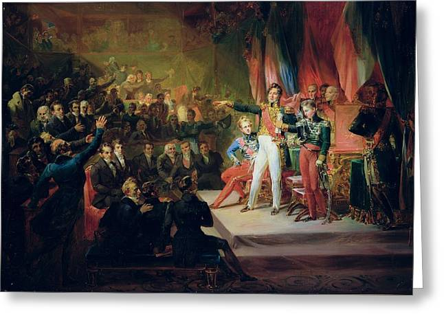 Oath Greeting Cards - The Swearing-in Of Louis-philippe 1773-1850 9th August 1830 Oil On Canvas Greeting Card by Felix Auvray