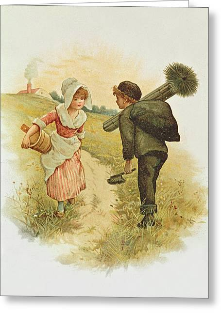 The Sweep And The Milkmaid Book Illustration Greeting Card by Anonymous