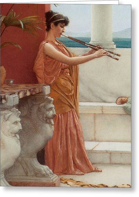 Tiger Skin Rug Greeting Cards - The Sweet Siesta of a Summer Day Detail Greeting Card by John William Godward