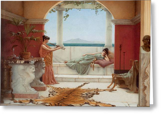 Tiger Skin Rug Greeting Cards - The Sweet Siesta of a Summer Day Greeting Card by John William Godward