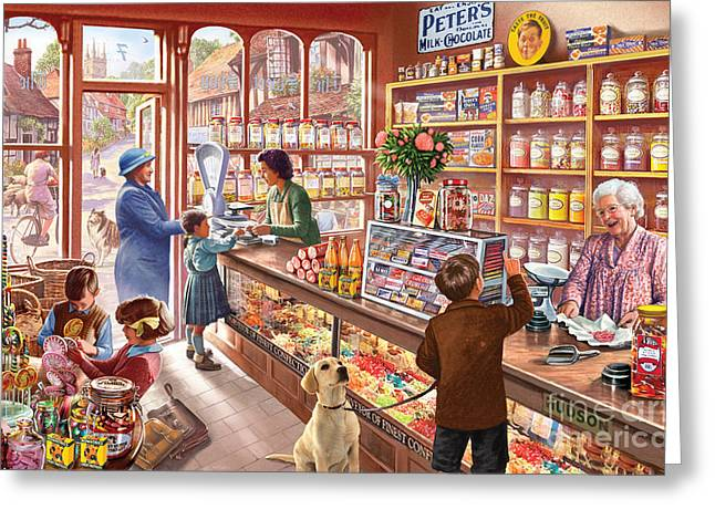 Community Greeting Cards - The Sweetshop Greeting Card by Steve Crisp